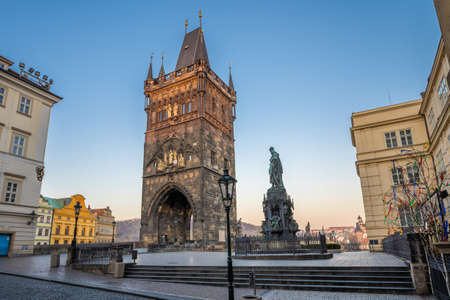 Old Town Bridge Tower of the Charles Bridge with no people, nobody - Krizovnicke square one of the most beautiful Gothic constructions in world. It was designed by Peter Parler Prague, Czech