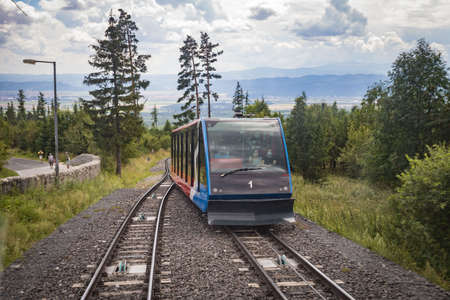 HIGH TATRAS, SLOVAKIA - AUGUST 2020: Cable railway from Stary Smokovec to Hrebienok 1,285m . Hrebienok is a popular tourist destination and a starting point for many tourist trails in High Tatras Editorial