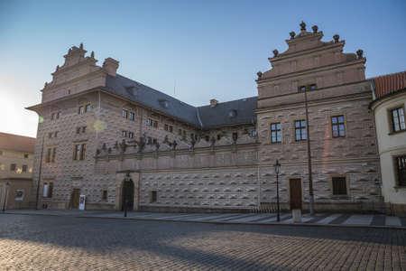 PRAGUE, CZECH REPUBLIC - APRIL, 2020: Hradcanske Square, the Archbishop Palace and Prague Castle. No pleope, nobody Editorial