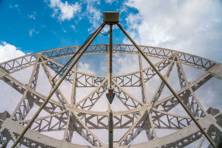Huge satellite antenna dish for communication and signal reception out of the planet Earth. Observatory searching for radio signal in outer space. Standard-Bild