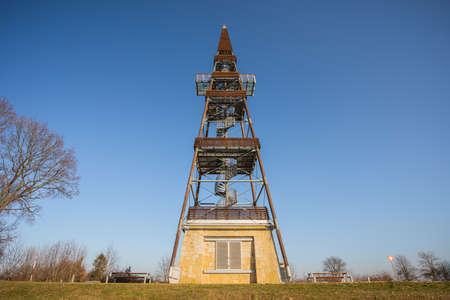 Lookout tower Cizovka is fairly new tower ner Cesky Raj - Czech Paradise. Sunny weather with clear sky. Standard-Bild