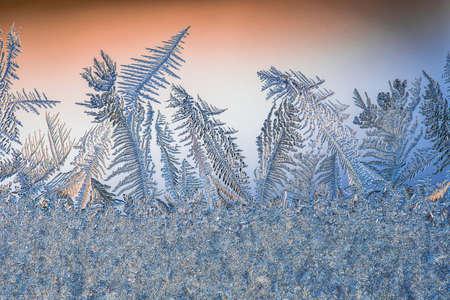 Ice hoarfrost patterns on glass in winter. Sub zero frozen water crystal art. Standard-Bild