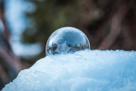 Frozen soap bubble with a beautiful pattern on the snow close up on a blurry background
