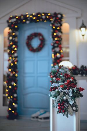 new year concept background door in christmas decoration
