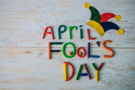 April Fools Day text made with plasticine Banque d'images