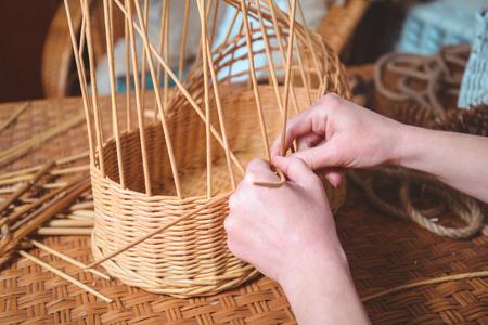 basketry: woman making basktes