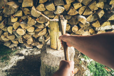 chopping wood first person view