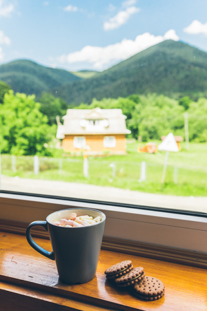 the furlough: cup of coffee with cookies on windowsill