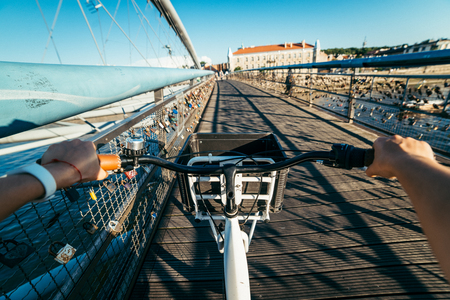 kick around: first person view ride on bicycle