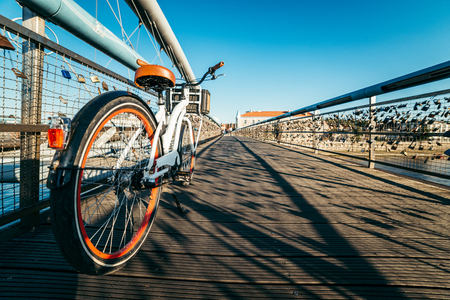bicycle on the bridge cross the river
