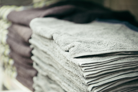 Clean new towels one on another Stock Photo