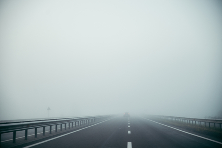 Highway with fog on highway