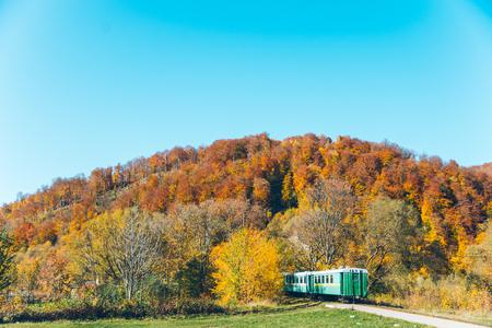 old train in carpathian mountains Stock Photo