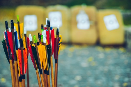 arrows bows and targets Stock Photo