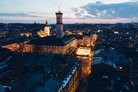 panoramic view on sunset above old european city. birds eye view.