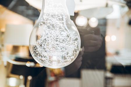 bulb lamp close up. copy space. design concept