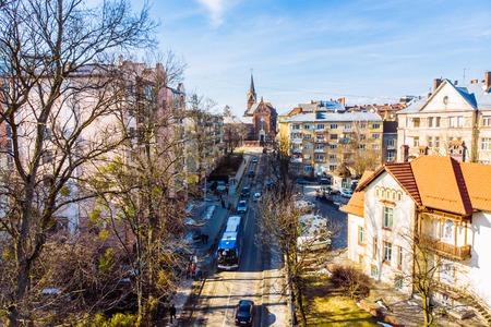 winter view of european city. birds eye view.