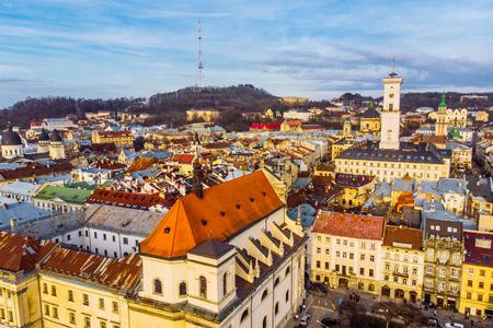 cityscape of old european city. birds eye view Stock Photo