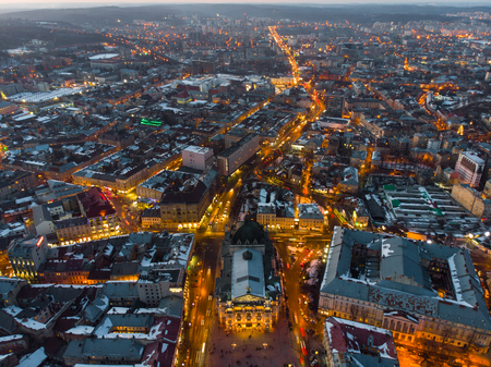 aerial view of city in night time. streets in car lights. Stock Photo