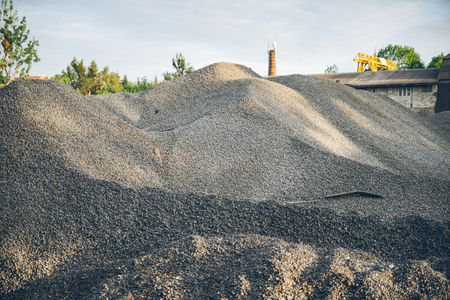 gravel hills at construction site. crushed stone close up