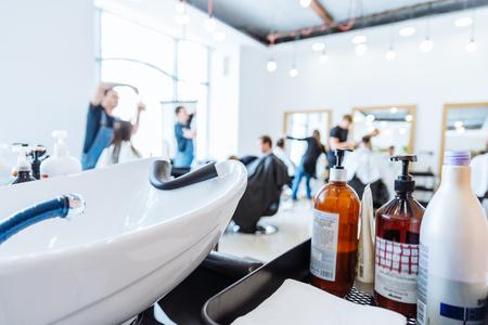 hair washer in hair saloon. inside interior.