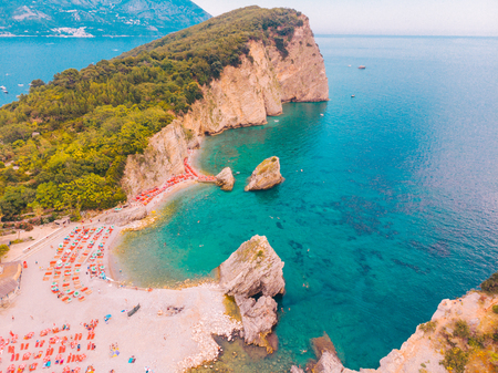aerial view of hawaii beach in budva, montenegro. summer vacation 写真素材