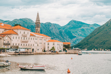 beautiful view of Perast town in Montenegro. overcast weather