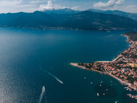 aerial view of yachts in city docks of montenegro. summer time