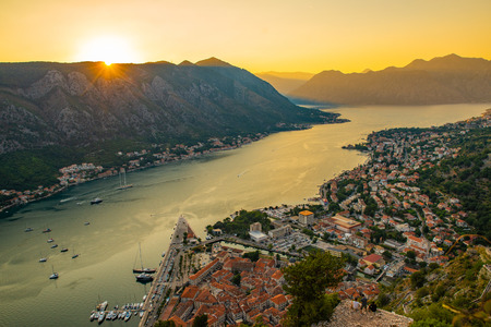 aerial view of kotor town on sunset. summer time vacation Stock Photo