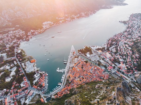 aerial view of kotor city in montenegro. ships and boats in dock 写真素材