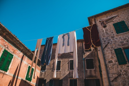 drying clothes at kotor streets in montenegro. summer vacation