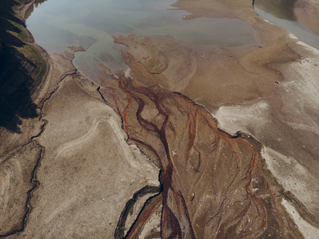 river source. water pollution. overhead view