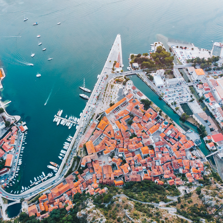 aerial view of kotor city in montenegro. ships and boats in dock Stock Photo