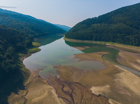 aerial view of lake in mountains. summer time