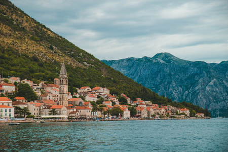 view from sea to perast city in montenegro. summer vacation