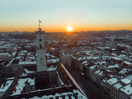 beauty sunset over old european city. birds eye view