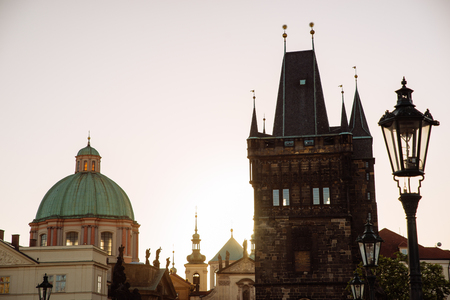 cityscape. morning in prague. sunrise over charles bridge. travel concept Stock Photo