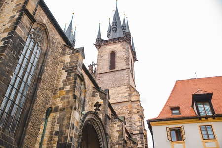 our lady tyn church towers in prague. city travel