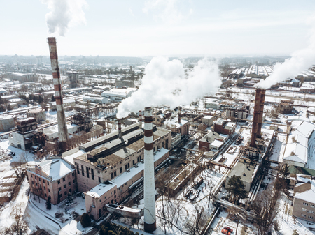 aerial view of smog pollution from city factory. winter time Stock Photo