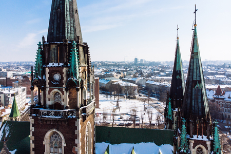 birds eye view on old european church in winter day