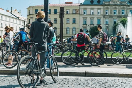LVIV, UKRAINE MAY 20, 2018: lviv bicycle day in center of the city Editorial