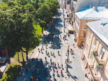 LVIV, UKRAINE – MAY 20, 2018: lviv bicycle day in center of the city. aerial view Editorial