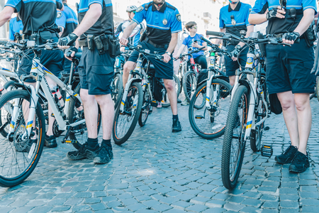 LVIV, UKRAINE – MAY 20, 2018: lviv bicycle day in center of the city. policemen on bicycles Editorial