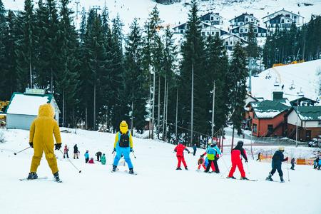 BUKOVEL, UKRAINE - December 9, 2018: people skiing. winter vacation. sport activity Editorial
