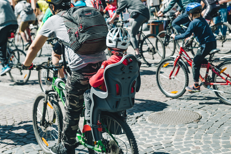 LVIV, UKRAINE – MAY 20, 2018: lviv bicycle day in center of the city