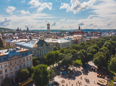 aerial view of old european city. sunny summer day Stockfoto