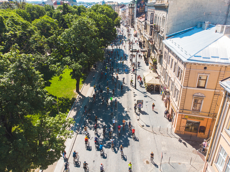 LVIV, UKRAINE – MAY 20, 2018: lviv bicycle day in center of the city. aerial view