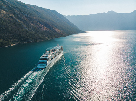 aerial view of cruise liner in sea bay. summer vacation concept