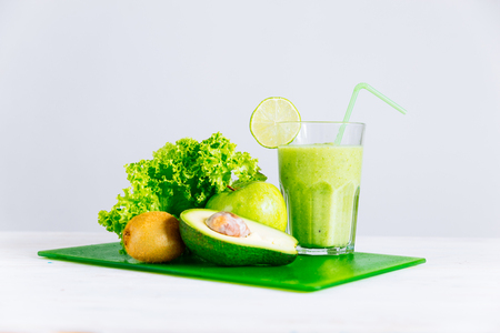 green ingredients for smoothie. healthy food concept