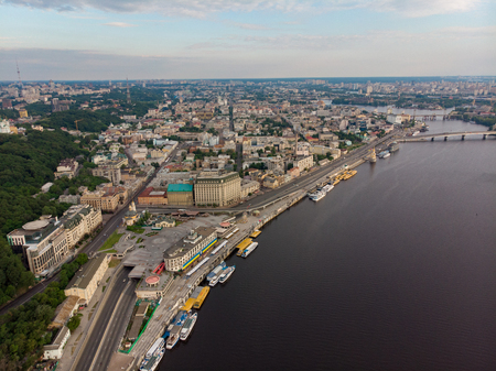 aerial view of city riverside. rivershore. copy space. summer time Standard-Bild